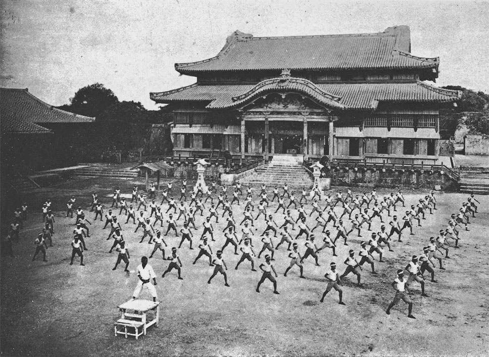 Karateka in front of Shuri Castle